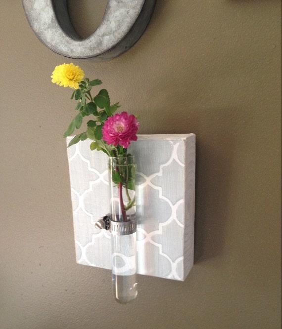Items similar to beaker tube wall vase gray quatrefoil for Test tube flower vase rack