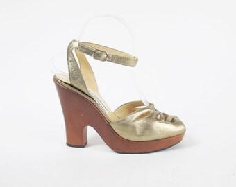 90s Dolce & Gabbana Heels Platform Heels Designer Bronze Gold Heels Ankle Strap High Heels Strappy Peep Toe Cut Outs Wooden Size 7.5 38