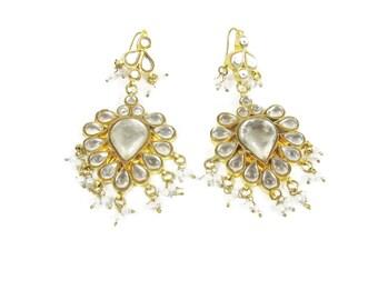 Vintage Indian Earrings Rhinestone Chandelier Earrings Boho Ethnic Tear Drop Earrings Beaded Gold Bollywood Indian Wedding Earrings E771