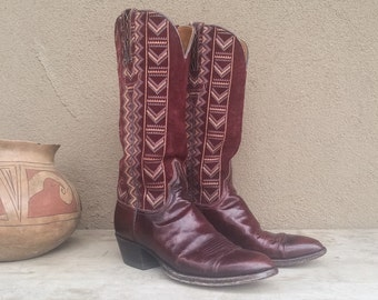 Rare vintage cowgirl boots Lucchese Women's size 7 (fits up to 7.5) Southwest weave exotic oxblood red goatskin cowboy boot, Navajo inspired