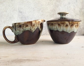 Midcentury modern brown green drip glaze sugar cream set, USA brown drip pottery, vintage sugar bowl, Canonsburg style, Hull or McCoy style