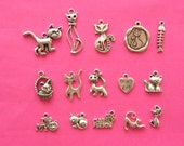The Cat Collection - 15 antique silver tone charms