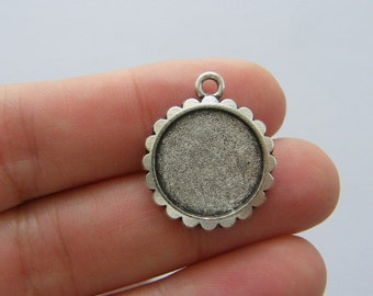 8 Cabochon frame charms antique silver tone
