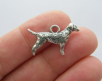 4 Dog charms antique silver tone D14