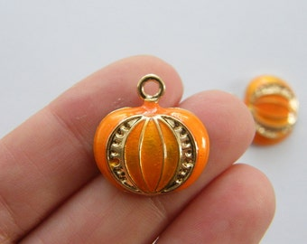 2 Pumpkin charms orange and gold tone GC13