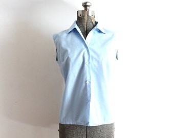 ON SALE 60s Blouse / 1960s 1950s Blouse / 60s Light Blue Sleeveless Blouse