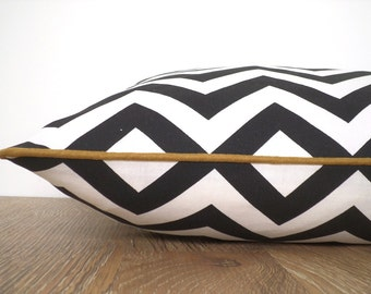 Black and white pillow case, chevron cushion with piping, geometric throw pillow cover black and gold decor, dorm room cushion cover