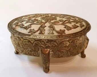 Vintage gold ornate antique trinket chest box red lined with feet Japan