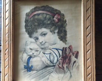 Antique framed lithograph | girl with her kitty
