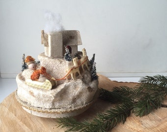 Vintage 1950s Christmas Music Box Jingle Bells Holiday Decor Santa Shabby Chic Cottage Christmas Decor