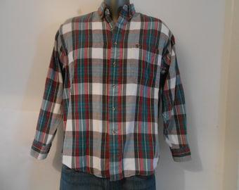 Vintage Plaid Flannel Cotton Shirt/Men's Medium Long Sleeved Shirt/Women's Large Long Sleeved Shirt