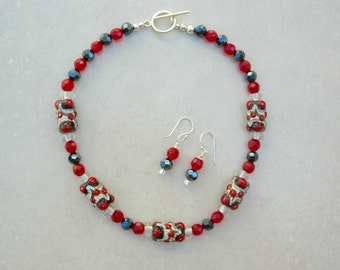 Lovely Red/Black/White Handmade Lampwork Glass Beads, Faceted Black & Red Beads, Sterling Silver, Necklace Set by SandraDesigns