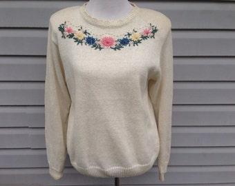 Cream Floral Sweater