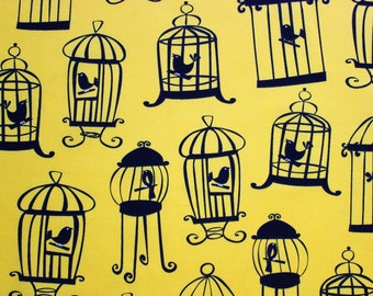 Tweet Tweet Yellow Fabric by Michael Miller, Birdcage Fabric, Yellow and Black Fabric