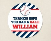 Baseball Party Favor Stickers - Sheet of 12 or 24