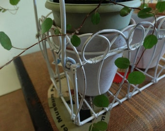 Shabby White Metal Basket with Two Clay Herb Pots . Planter . Desktop Organizer . Makeup Holder