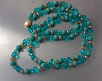 Turquoise Sky Blue Beaded Necklace