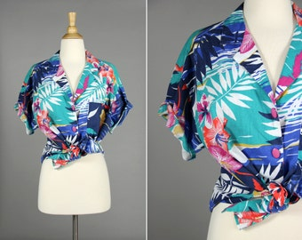 Vintage 1980's Hawaiian Shirt- Blue, Pink, Teal- Palm Trees Flowers Button up short sleeve shirt. Summer vacation- Size Medium or Large M L