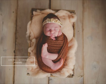 STRETCH WRAP- CINNAMON--Newborn Photo Prop- photography