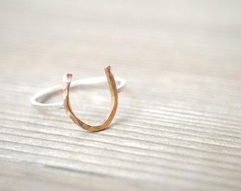 Horseshoe Ring - Mixed Metal, Sterling Silver and Gold Filled