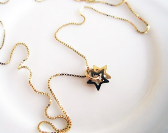 Gold Star. All Day 14K Gold Necklace with Couple Tiny 14K Gold Star Charms. Dainty Gold Star Necklace. Recycled Jewelry. Limited Edition.