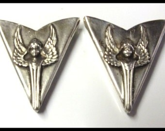 Vintage Art Nouveau Silver Shirt Tips Free Shipping