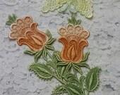 Vintage Tulip  Butterfly Lace Flower Hand Dyed Venise Crazy Quilt Applique Embellishment