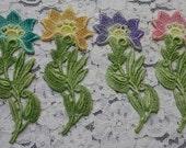 Vintage Venise Lace Flowers Hand Dyed Applique Embellishment Appliques