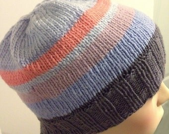 Teen adult stripe design hat beanie slouch slouchie toque merino wool pink lilac purple