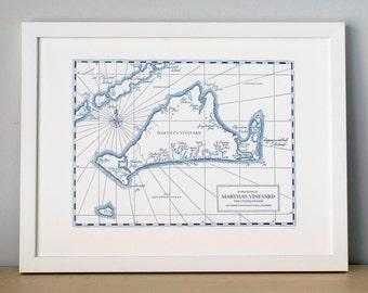 Martha's Vineyard, Letterpress Printed Map (Navy)