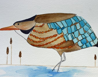 American Bittern, original bird watercolor, brown and turquoise, marsh bird, children's, nursery art, large bird, orange