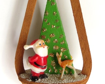 Vintage Christmas Tree Ornament Wood Cut Out with Santa and Reindeer