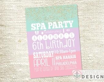 spa party birthday invite // diy printable invitation