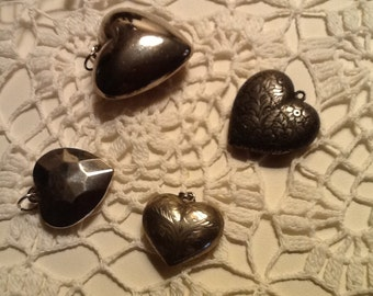 Sterling Silver Heart Pendants Charms Vintage Fine Jewelry SALE