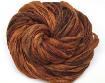 Merino and silk super bulky hand spun yarn, 70 yards and 4 ounces/ 114 grams, spun thick and thin