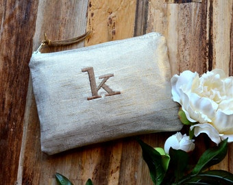 Gold Linen Personalized Bridesmaid Gift Idea for Her Monogram Clutch Set Purse Custom Rustic Beach Shabby Wedding Pouch Metallic Makeup Bag