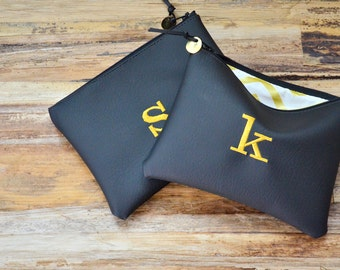Personalized Gift for Her Monogram Clutch Purse Custom Pouch Bridesmaids Gift Metallic Gold Black White Faux Leather Christmas Gift Cosmetic