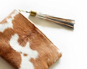 Clutch Calf Hair Natural Tassel Purse Bridesmaid Gift Leather Clutch Pouch Handbag Zipper Bag Handmade Hobo Bohemian Gift