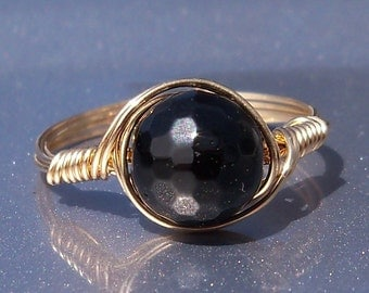 LG Faceted Black Tourmaline Ring 14k Yellow Gold Fill Wire Wrapped Ring Custom Sized