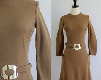 Vintage 1960s Dress Sm Mod Dress 60s Dress Mini Dress Womens Winter Dress 1960s Mod Clothing Short Brown Dress Womens Size Small