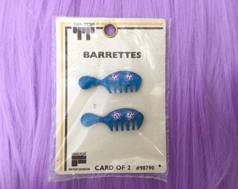Vintage Deadstock Comb Barrettes by Tip Tip NIP Blue with Flowers