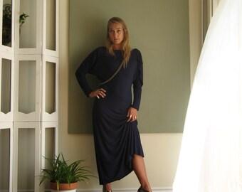 NEW Asymmetric Maxi Statement Dress Draped Ruffled Neck / Sleeve Long Dolman Sleeve Boat Neck A Line - Jersey -  XS - L - More Colours