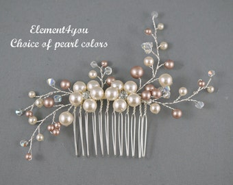 Bridal hair comb, wedding hair accessories bridal hair pieces wedding hair vines flower comb unique piece elegant hair do, Ivory pink pearl