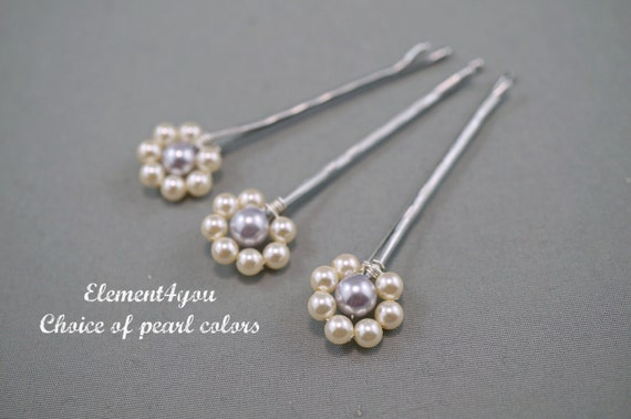 Pearl Bobby Pins hair accessories Swarovski silver gold hair pieces Pink Champagne Ivory Bridesmaid gift Wedding headpieces Flower girl