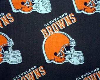 "NFL Football BROWNS, Cotton Fabric, 18"" X 58"", 1 /2  YARD, New"