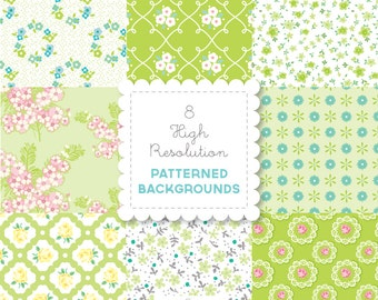 GREEN Florals  PATTERNED BACKGROUND set in Bright Pastels for personal and commercial use - digital papers, vintage, retro