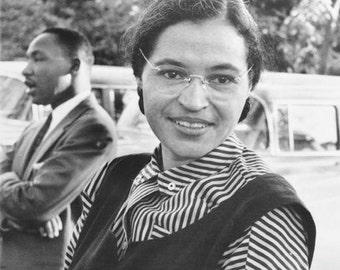 Rosa Parks and Dr Martin Luther King jr 1955 Civil Rights Leaders African American History Black & White 1950s Photography Photo Print