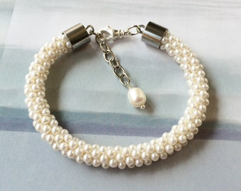 Kumihimo Pearl Cultured Pearl Dangle Bracelet / Statement / Gift for Her