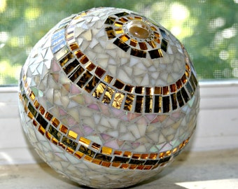 Mosaic Stained Glass Gazing Ball, Neutral Colors - 10 Inches