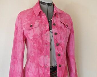 "Pink Medium Cotton JACKET - Pink Fuchsia Dyed Upcycled Live a Little Cotton Trucker Jacket - Adult Womens Size Medium (38"" chest)"